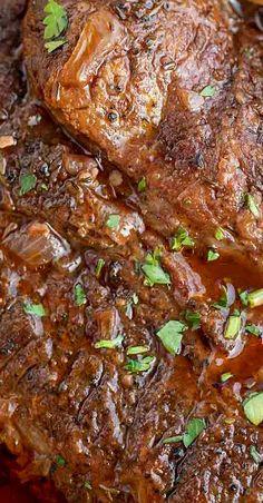 Red Wine Pot Roast - Dinner, then Dessert Deer Roast Crockpot, Crockpot Dishes, Pork Dishes, Roast Beef, Best Beef Recipes, Veal Recipes, Pot Roast Recipes, Cooking Wine Recipes, Best Pot Roast