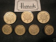 Gold tone buttons in an excellent. On sale is a set of 12 pieces. Jacket Buttons, Blazer Buttons, Harrods Knightsbridge, Blazer Jacket, London, Personalized Items, Antique, Jackets, Buttons
