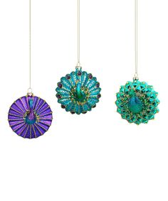 Glass Peacock Ornament Set by Evergreen #zulily #zulilyfinds