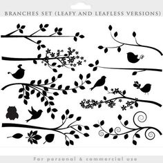 This clipart package is for: 1. Branch and bird silhouettes. Each branch comes in a leafy (summer) and a leafless version. (winter)