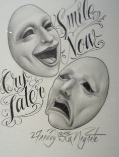 Smile Now, Cry Later: Freddy Negrete and Chicano Black-and-Gray Fineline Tattooing Arte Cholo, Cholo Art, Easy Drawings Sketches, Tattoo Design Drawings, Old School Tattoo Designs, Best Tattoo Designs, Clown Faces, Sad Faces, Tattoos For Guys