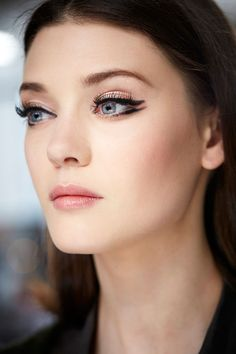 Backstage beauty at Chanel Resort 2015. Nice winged eyeliner