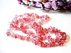 Raw Cherry Quartz Chips Beads Cut Rough Gemstone Pebble
