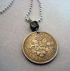 English Scottish Irish Jewelry - Vintage COIN NECKLACE - lucky six pence - wedding six pence - pyrite cube bead