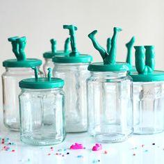 leggy jars (for crafts, q-tips, cotton balls, bobby pins, etc.)