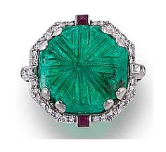 An art deco emerald, diamond and ruby ring, circa 1930