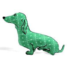 $35 - Green Dachshund Dog Shaped Pillow