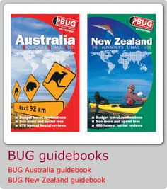 BUG – the Backpackers' Ultimate Guide to budget travel. Gives reviews on transport, hostels, and offers destination guides to the Americas, Australia, Europe, and New Zealand and the Pacific Islands.