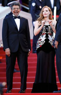 """Jury members Gabriel Yared and Jessica Chastain attend the """"Ismael's Ghosts (Les Fantomes d'Ismael)"""" screening and Opening Gala during the 70th annual Cannes Film Festival at Palais des Festivals on May 17, 2017 in Cannes, France."""