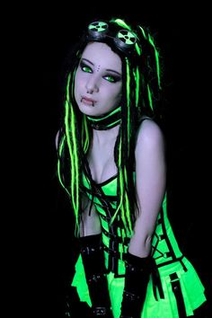 GOTH / PUNK / EMO: she's beautiful, and this is cyber punk, but very much a huge crossover between goth and cyberpunk