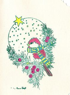 15% Off w/ coupon code! Christmas Birdie by inkieannie on Etsy