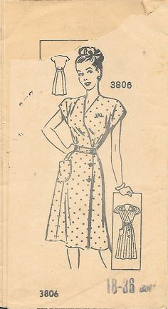 American Weekly 3806 Wrap Dress with Embroidery Transfer