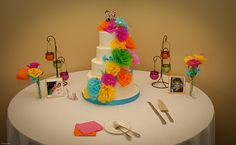 This would be beautiful on a cake table in the middle of a grassy green meadow with a wedding reception tent in the background! Fiesta Cake, Fiesta Party, Rustic Wedding, Our Wedding, Dream Wedding, Wedding Reception, Wedding Divas, Rainbow Wedding, Offbeat Bride