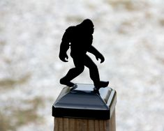 Bigfoot Post cap for wood post, Big Foot Topper, Sasquatch Post Finial for actual size post, Yeti Wood Fence Post, Fence Post Caps, Wood Post, Bigfoot Pictures, Woodsy Decor, Powder Coat Paint, Mailbox Post, 4x4, Bigfoot Toys