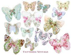 tattered vintage | ... Wallpaper Butterflies Instant Download Tattered Vintage no.32