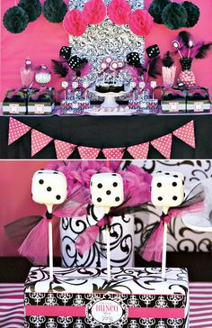 Black Hot Pink White Birthday Party Ideas Pink black Sweet