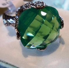 Beautiful Green Princess Silver Cocktail Ring White GP Sz 9 #Unbranded #Cocktail