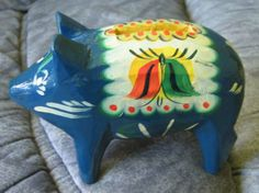 Swedish DALA PIG painted 3.9 inch. money-box