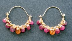 Hammered hoops with pink ruby and mandarin garnet Siren 166