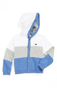Armani Junior Colorblock Hoodie (Toddler Boys & Little Boys) available at #Nordstrom