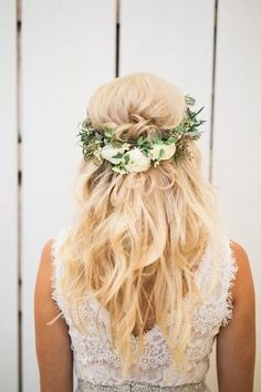 Boho wedding hairstyle idea - loose waves with greenery and white flower wreath {Adria Lea Photography}