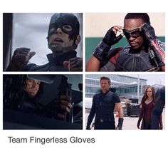 fingerless gloves are hot tho. look at wanda. and clint. and bucky and sam and steve damnit they're all attractive