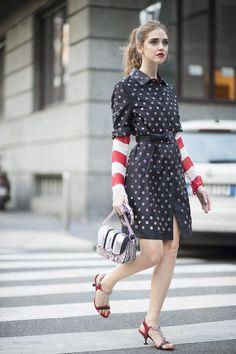 Chiara Ferragni in Prada, Street Style Milan Fashion Week Februar 2016