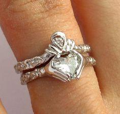 Claddagh Ring Wedding Set  - 0.74 karat heart Diamond - 3/4 karat diamond - White Gold - Engagement Ring Set - Wedding Band- Rickson via Etsy
