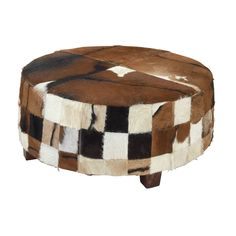 Benzara 39-inch Wood and Cow Hide Ottoman