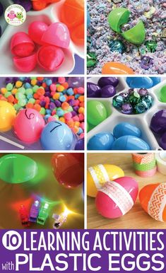 Here are many ways you can use plastic eggs in learning activities for preschoolers. Ideas include music and movement, counting, sorting, sensory and STEM and so much more. These activities are perfect additions to your bird theme, Easter theme, spring theme unit and lesson plans. Perfect for literacy centers, math centers, fine motor centers, and STEM centers in your preschool and pre-k. Plastic Easter egg activities, Easter activities, Easter bunny activities, bird activities.