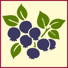 Blueberry stencil, fruit stencil, kitchen stencil, blueberries ...
