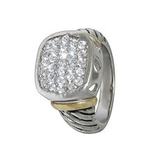 Designer Inspired Cable Style Men's Diamond CZ Pave Ring