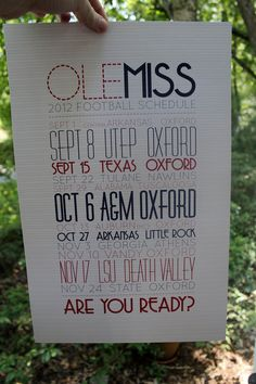 2012 Ole Miss Football Schedule poster. $15.00, via Etsy.