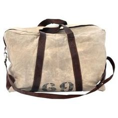 """Perfect for weekend trips and exotic getaways alike, this upcycled canvas duffel bag showcases leather trim and stencil-inspired details for handsome appeal.  Product: Duffel bagConstruction Material: Canvas, leather and metalColor: Tan and brownDimensions: 15"""" H x 22.5"""" W x 14"""" DNote: Due to the vintage nature of this product, some wear and tear is to be expected. Products may show signs of brand marks, scrapes or other blemishes.Cleaning and Care: Wipe clean with a damp cloth"""