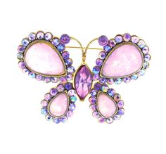 "Vintage Opalite Glass Rhinestone Butterfly Brooch Pin 2"" Lavender  #Unbranded"