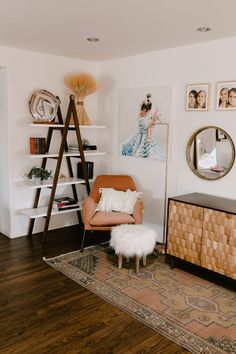 turned this awkward corner into a beautiful cozy reading corner in our home. love the character this geome sideboard from adds to this mix. Room, Home, Bedroom Nook, Cozy Reading Corners, Apartment Decor, Living Room Nook, Walnut Shelves, Corner Decor, Bedroom Corner
