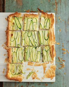zucchini tart: phyllo crust filled with basil-infused custard topped with zucchini strips; try with squash