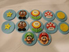 Super Mario cupcake toppers 12 by on Etsy Mario Bros, Super Mario Brothers, Super Mario Cupcakes, Mario Cake, Fondant Cupcake Toppers, Cupcake Cakes, Cup Cakes, Wonderful Things, Let Them Eat Cake