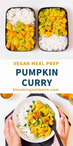 meal prep plans This vegan Pumpkin Chickpea Curry recipe is easy, healthy, rich in protein and delicious. It's great for meal prep and very comforting! Vegetarian Meal Prep, Lunch Meal Prep, Easy Meal Prep, Quick Easy Meals, Vegetarian Recipes, Healthy Recipes, Pumpkin Curry, Vegan Pumpkin, Pumpkin Recipes