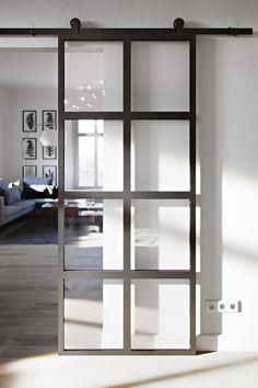 Barn Doors - drzwi i systemy drzwi przesuwnych Door Dividers, Internal Sliding Doors, Home Room Design, Door Design, Modern Interior Design, The Doors, Glass Door, French Doors, House Plans
