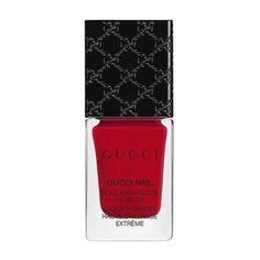 Gucci Iconic Red, Bold High-Gloss Lacquer ($29) ❤ liked on Polyvore featuring beauty products, nail care, nail polish, beauty, bright, nails, red, bristle brush, gucci and shiny nail polish