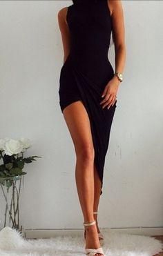 c1e0ffd392f Online Shop New Women Clothing Sexy Clubwear Split Irregular Slim  Asymmetric Hem High-low Maxi Swallow Long Dresses black Cocktail Clubwear