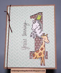 Darling 1st Birthday card by Niki! Lawn Fawn - Critters on the Savanna, Dewey Decimal paper