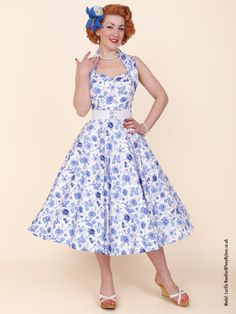 1950s Halterneck Chateau Blue from Vivien of Holloway