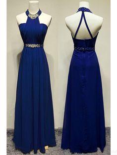 A-line Halter Blue Backless Prom Dresses #SIMIBridal #promdresses