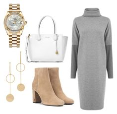 """""""😬😬"""" by peytongirl on Polyvore featuring Warehouse, Yves Saint Laurent, Michael Kors, Cloverpost and Rolex"""