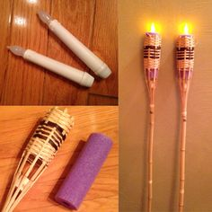 Flameless tiki torches #diy #howto #flameless #tikitorches #crafts