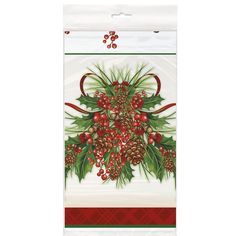 "Holly Sprig Tablecover (includes 1 rectangular plastic tablecover that measures 54"" by 84"" in a pack)"