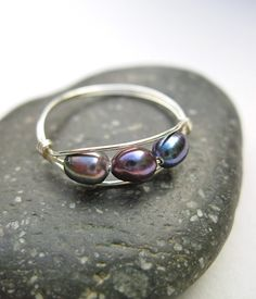 Freshwater Peacock Pearl Wire Wrapped Ring in by NellBelleDesigns, $26.00