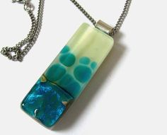 Blue Fused glass sterling silver & cream pendant by LiveInDesign